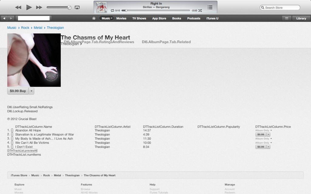 The iTunes Store can occasionally give strange rendering errors.
