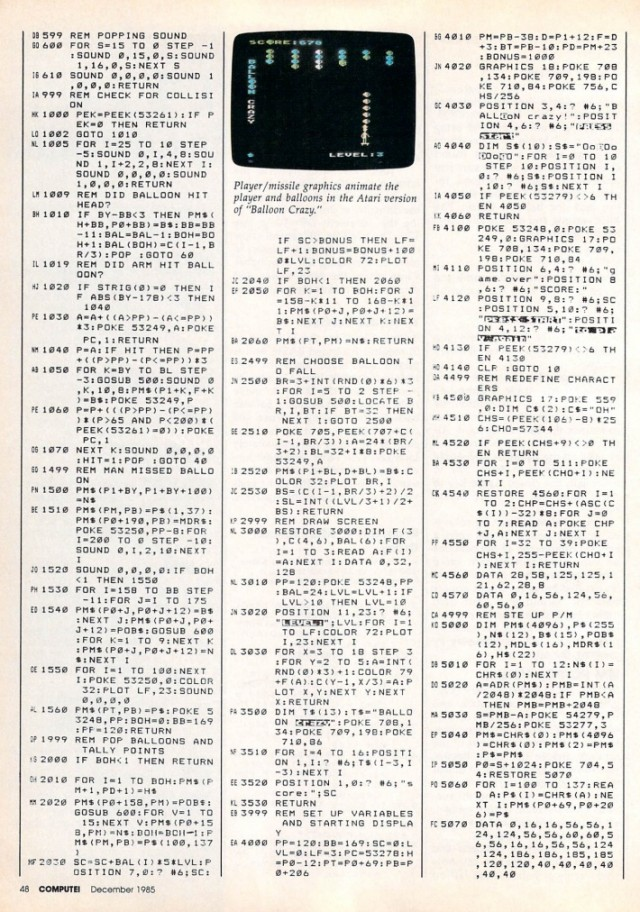 A full page of BASIC code from a mid-1980s COMPUTE!