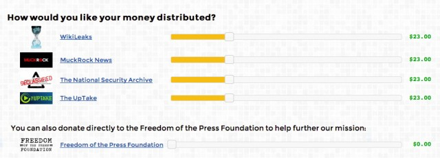 The Freedom of the Press Foundation's site went live on Sunday.