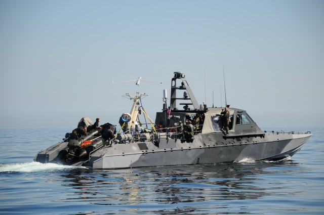 "A ScanEagle launched from a US Navy ""aircraft carrier""—a MK V special warfare patrol boat off the coast of San Clemente Island, in February of 2008."