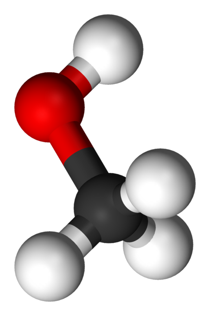 "The structure of methanol, where the white spheres are hydrogen, the black sphere is carbon, and the red is oxygen. The junction between the hydrogen and carbon is a swivel, allowing the ""head"" of the structure to rotate."