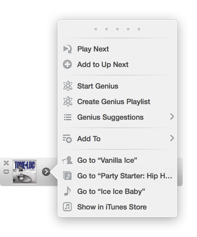 iTunes 11 mini player gives users far more controls than the basics of older versions.