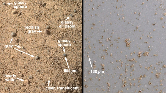 The soil sample where it was taken (left) and inside Curiosity's sample-halding machinery (right).
