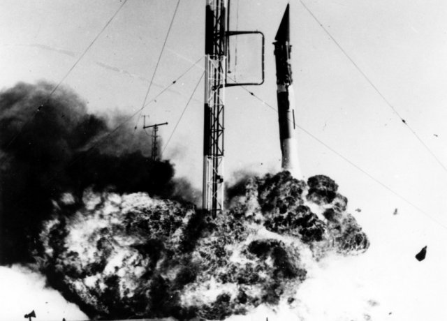 The Navy Research Laboratory's first Vanguard rocket explodes on the pad, December 6, 1957.