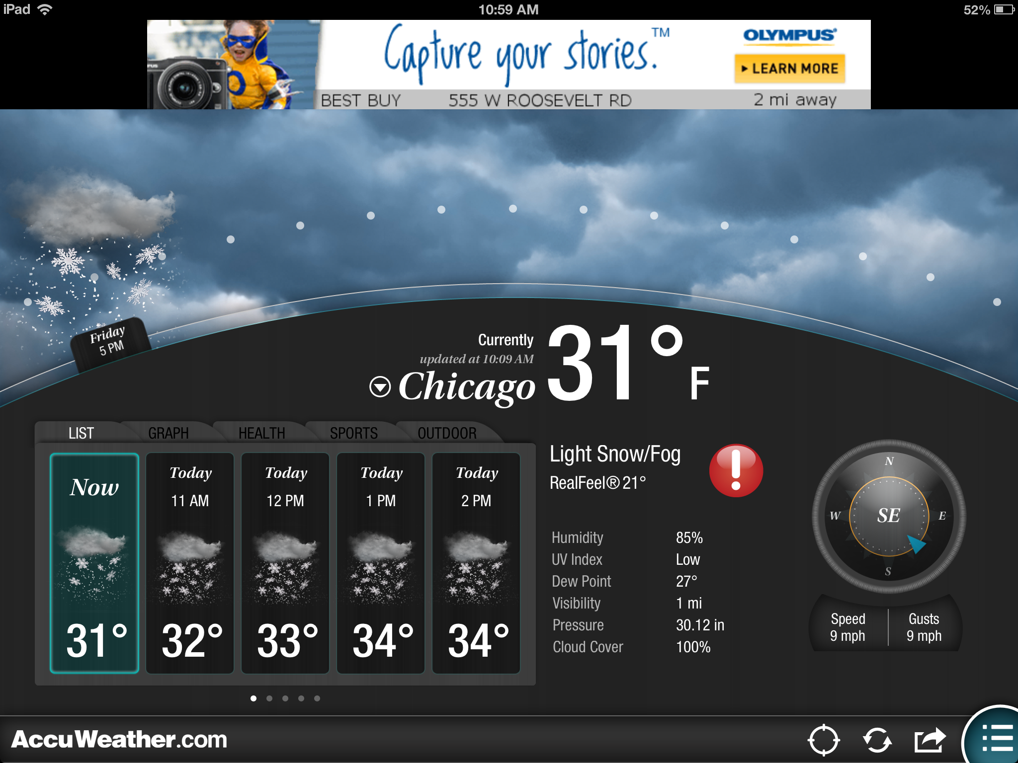 Aside from the ads—hey, it's free—AccuWeather's interface is quite slick.