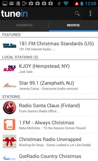 A selection of TuneIn radio stations on Android.