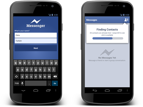 Screenshots of the soon-to-be status quo Android Messenger app from Facebook.