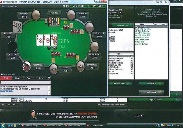 As Brian Byrd played poker using a PC purchased from an Aaron's rent-to-own store, PC Rental Agent surreptitiously captured this screen shot. It is one of hundreds of thousands of images siphoned by the software.