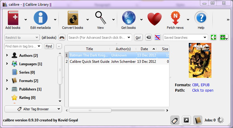 The Calibre desktop application for Windows.