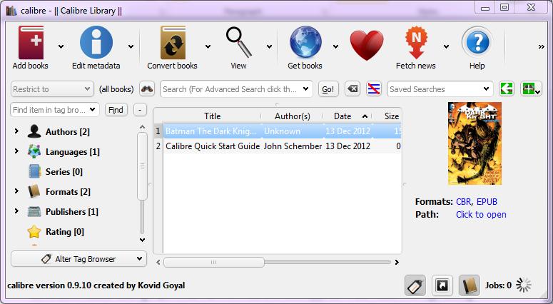 The Calibre desktop application for Windows.