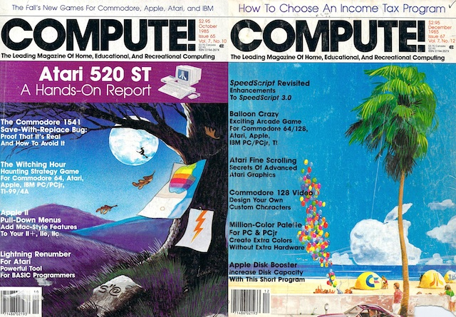 A pair of COMPUTE! covers. I spent many hours typing in the code contained in these two issues.