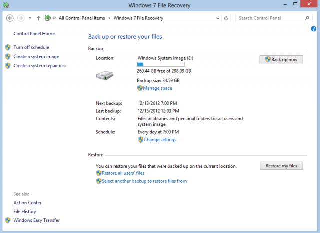 Regularly scheduled system images <em>and </em>file backup can only be done through Windows 7 File Recovery.