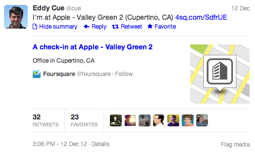 Apple's Eddy Cue checking into Apple's HQ via Foursquare. Who knew this would be so exciting on the Internet?