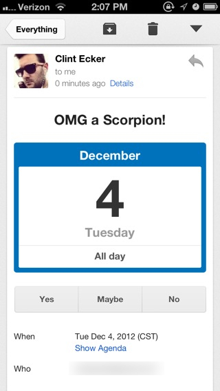 "Yes, I would like to attend the ""OMG a Scorpion!"" event."