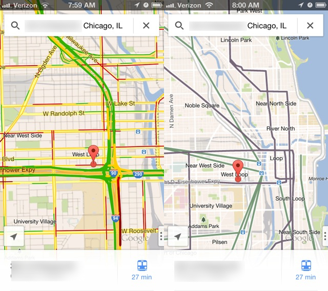 Left is traffic view, right is public transit lines.