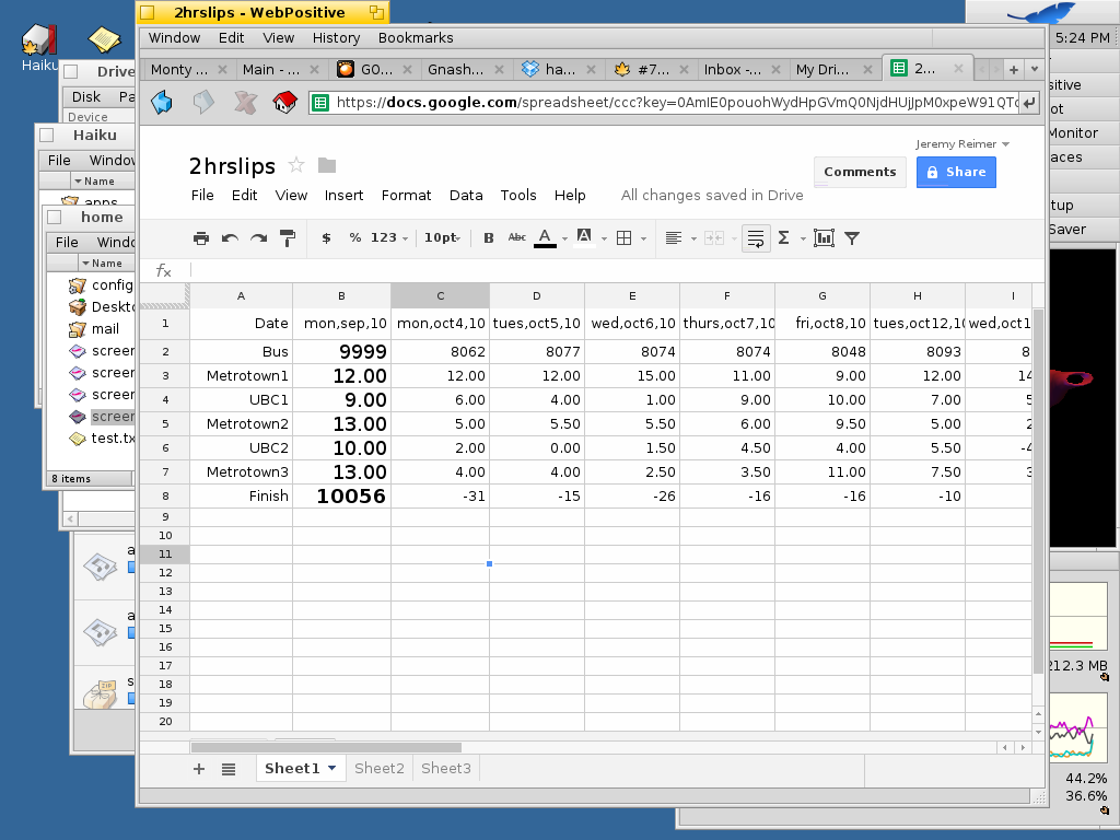 I made a Google Spreadsheet using the Googles.