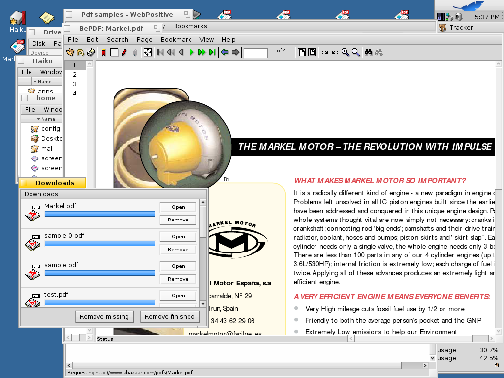 The PDF viewer works reasonably well, although it is not embeddable in the browser.
