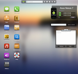 AirDroid interface within the browser.