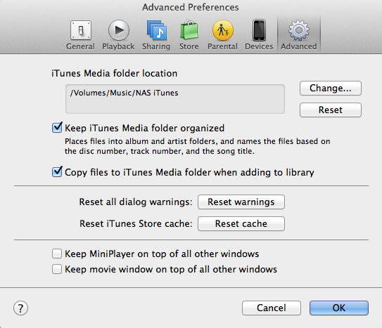 Specifying a network location for iTunes.