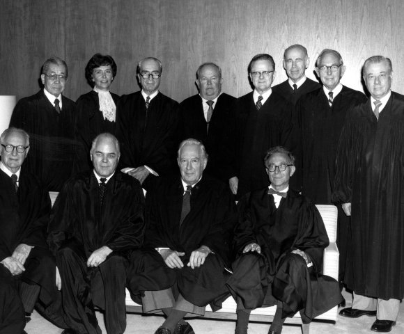 The US Court of Appeals for the Federal Circuit at its creation in 1982. Chief Justice Warren Burger is third from the left in the front row.