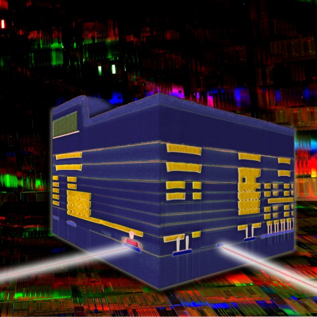 A representation of a silicon nanophotonic transceiver, with photodetector (the red rectangle on the left side of the cube, with the incoming beam) and optical modulator (the blue box with beam on the right), integrated with electronic transistors via nine layers of conductor embedded in the silicon