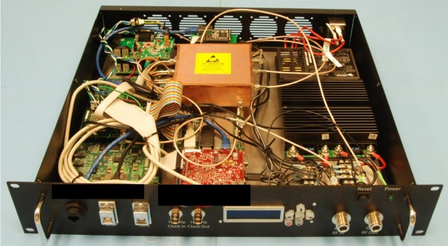 The phase-coherent signal synthesizer with its top cover removed. The $2,500 device can be used to severely disrupt mission-critical GPS equipment used by the military and private industry.