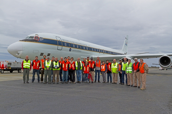 The Operation IceBridge team at the mission's base at the airport in Punta Areas, Chile.