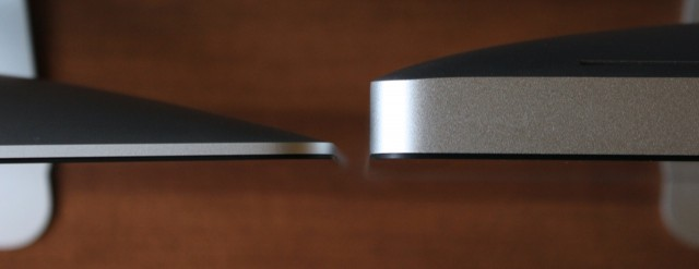The 2012 iMac (left) is drastically thinner and eight pounds lighter than the previous design (right).