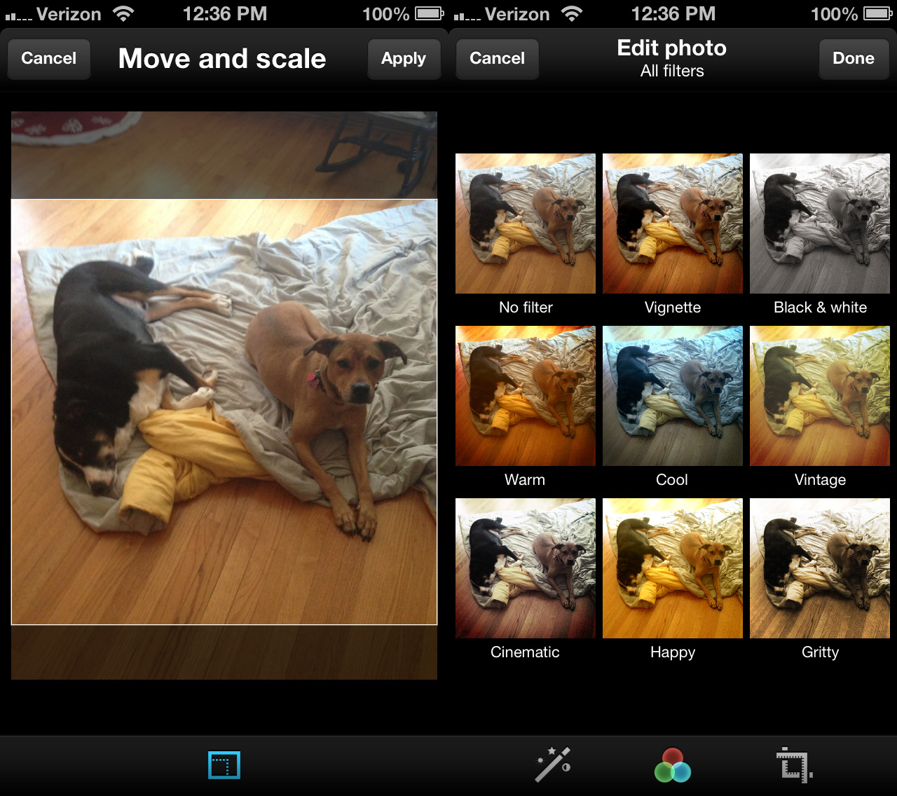 Twitter has a selection of eight photo filters of dubious quality.