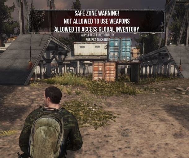 "GA screenshot from <i>The War Z</i>'s Steam release clearly shows parts of the game still labeled as ""alpha functionality."""
