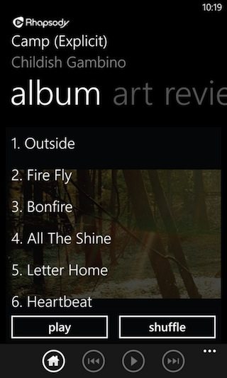 A track listing for an album in Rhapsody on Windows Phone.