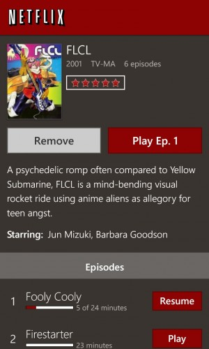 The Netflix app offers tons of television shows and movies for instant viewing.