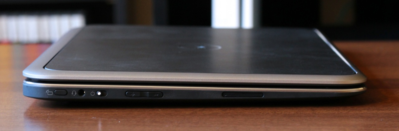 On the left, the XPS 12 has a screen orientation lock, headphone jack, power switch, volume rocker, and speaker.