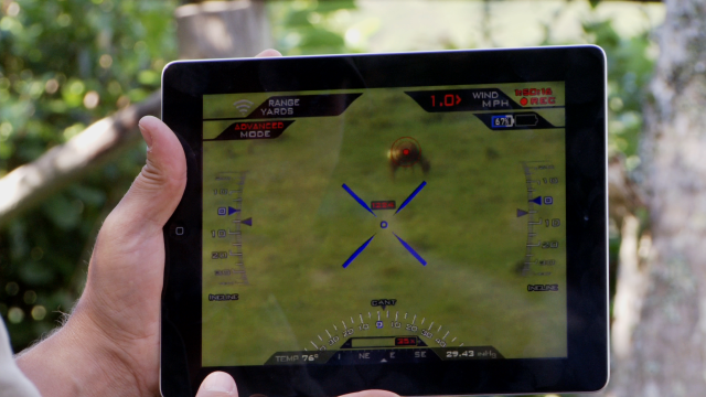 The iPad app mirrors the scope's display, allowing a spotter to assist with shots.