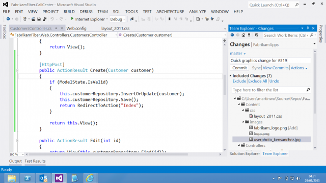 Committing code to a git repository in Visual Studio.