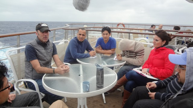 A typical meeting at sea.