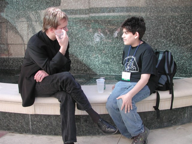 A younger Lawrence Lessig meeting a young Aaron Swartz.