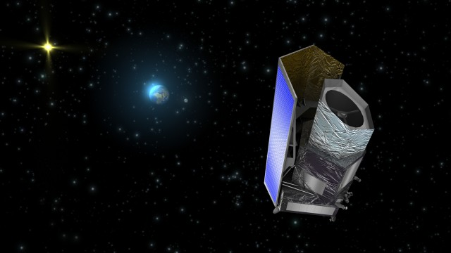 An artist's rendering of Euclid, which looks suspiciously like the Kepler telescope.