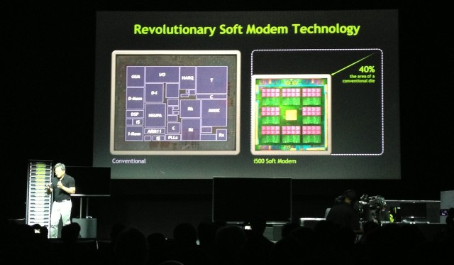 Nvidia's i500 soft modem replaces fixed-function hardware blocks with more versatile programmable processors, reducing the size of the LTE modem.