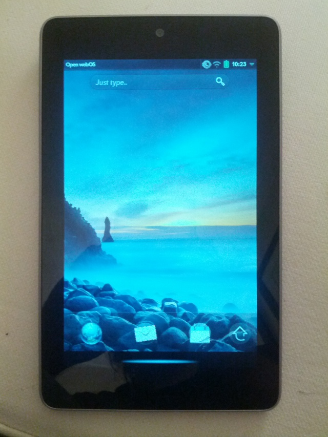 webOS shown running on a Asus Nexus 7.