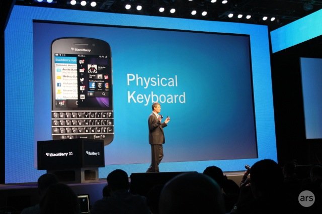 BlackBerry CEO Thorsten Heins introducing the Q10 at BlackBerry's launch event in January.