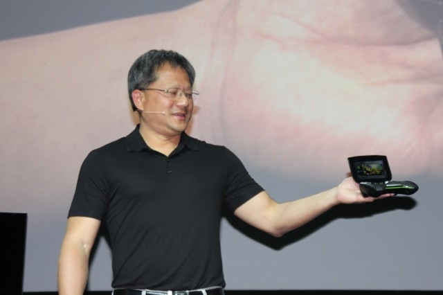 "Nvidia CEO Jen-Hsun Huang shows off ""Project Shield."""