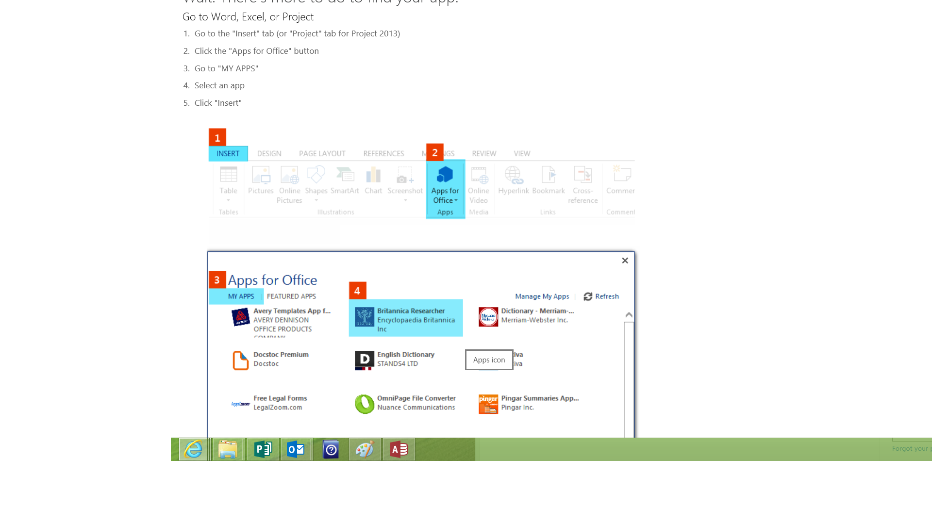 The Office App Store is also available through the Office.com website; click to see more applications within an Office 2013 application and it launches a browser view of the store.
