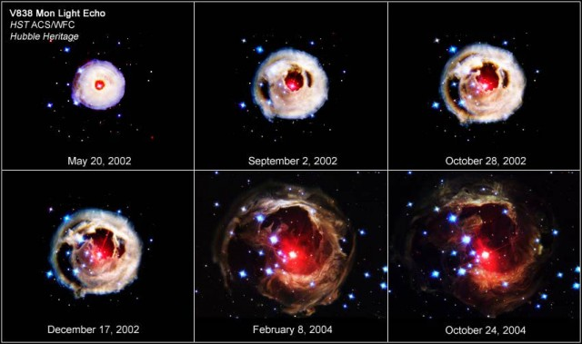 The star V838 Monocerotis erupted catastrophically in 2002, growing from obscurity to become one of the brightest known stars in the Milky Way. As the comic strip above shows, it shed a lot of mass during the process. A new model may explain how this happened, if the star was actually part of a binary.