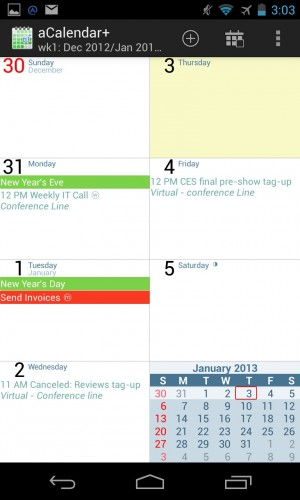 aCalendar has more usable monthly and weekly views, and it employs slick, swipe-based navigation.