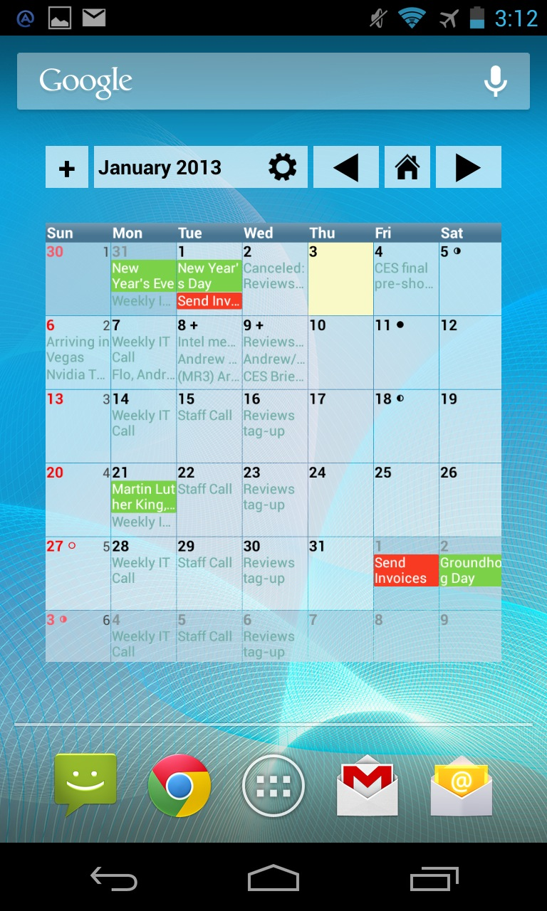 The paid version of aCalendar adds a monthly view widget and a few other features to the app.