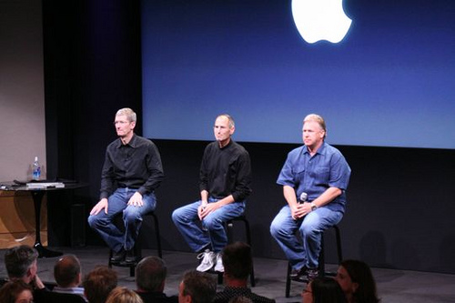 Apple executives Tim Cook, Steve Jobs, and Phil Schiller.