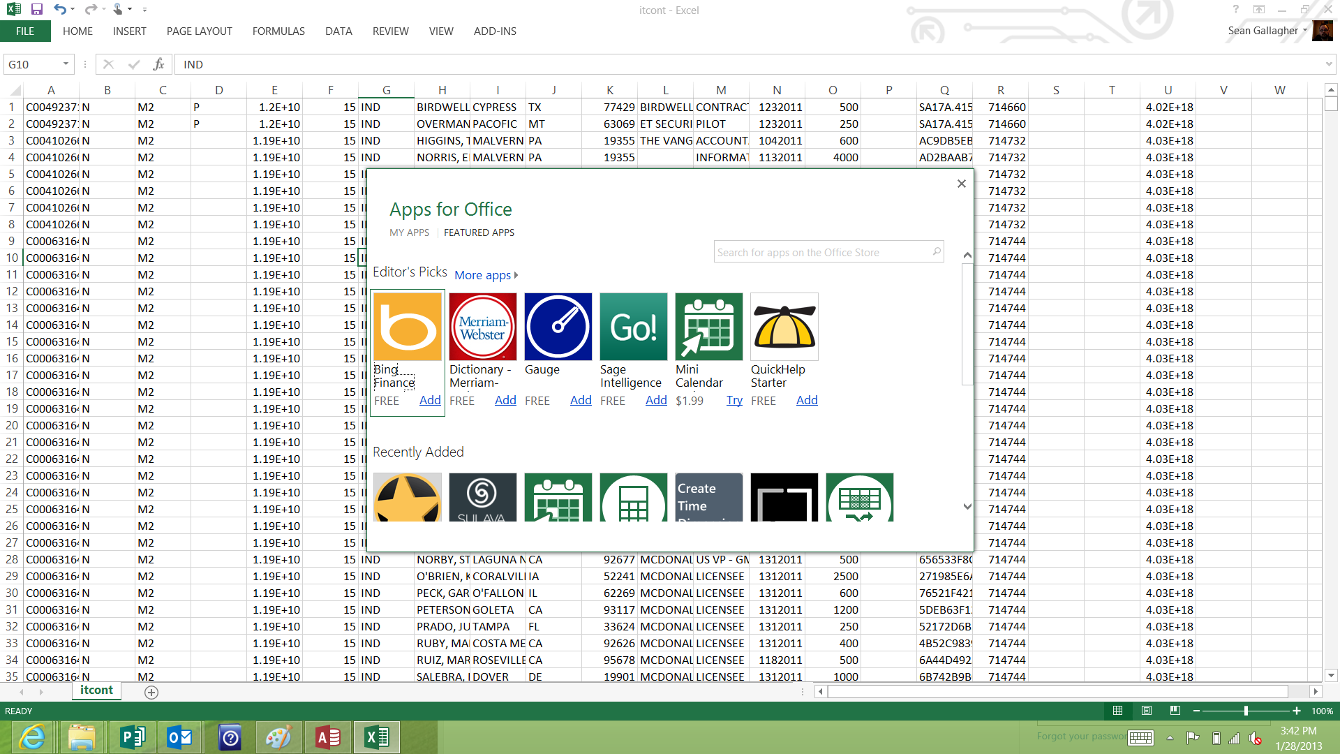 A view of the Apps for Office app store within Microsoft Excel.