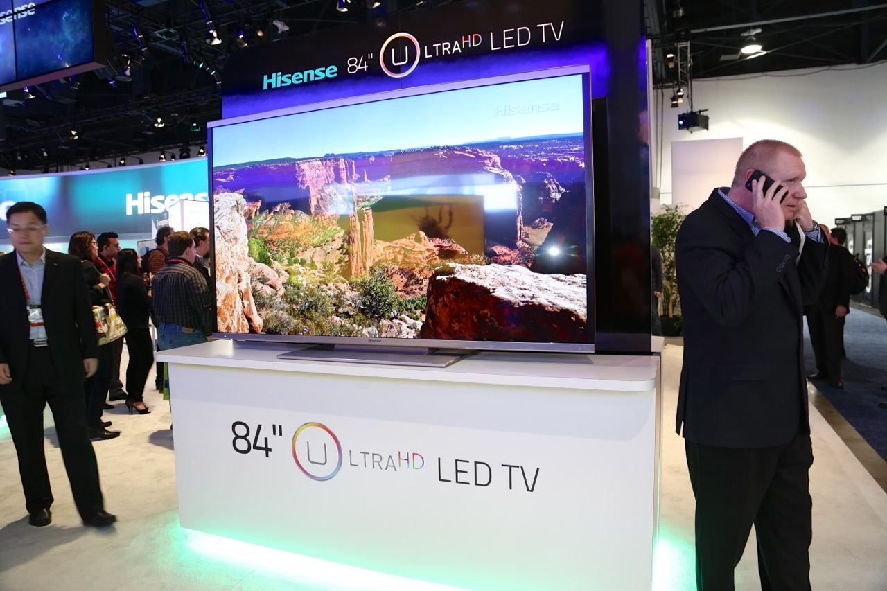 "China-based HiSense, known largely in the US as a cheap ""off brand,"" had a dozen Ultra HD TVs on display."
