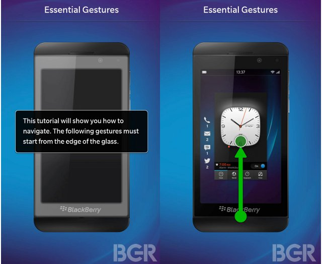 BlackBerry 10's new tutorial screen.